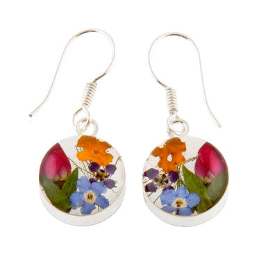 ROUND EARRINGS WITH MIXED FLOWERS IN 925 SILVER