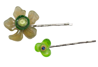 Hair Pins 'Green Flowers'