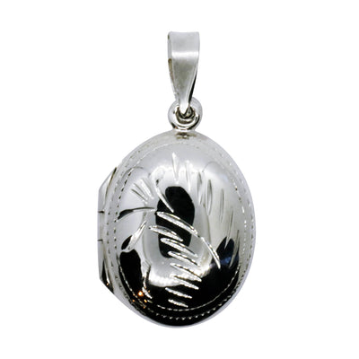 LOCKET OVAL (CARVED DETAIL) POLISHED IN 925 SILVER