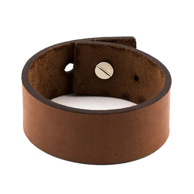 MEN'S LEATHER BLANK BRACELET, TAN COLOUR