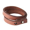 MENS LEATHER BRACELET DOUBLE THIN BLANK, TAN COLOUR