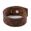 MENS LEATHER BRACELET WITH CIRCLES DESIGN, TAN COLOUR