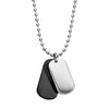 MINI DOG TAG & 55CM STAINLESS STEEL NECKLACE (SILVER/BLACK)
