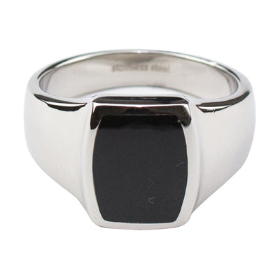 SIGNET RING W/BLACK RESIN, MADE IN STAINLESS STEEL
