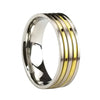 STRIPES RING IN STAINLESS STEEL