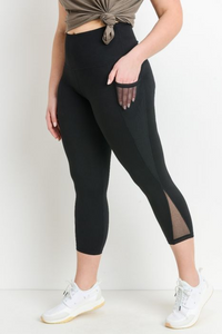 Curvy Mesh pocket capri leggings