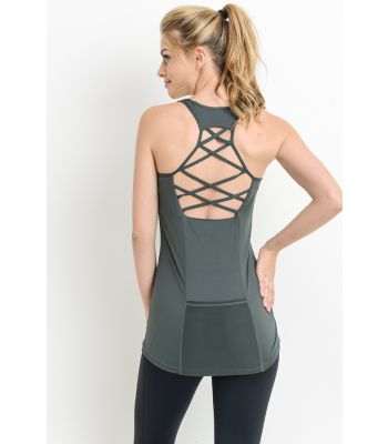 Lattice tank with built in bralette