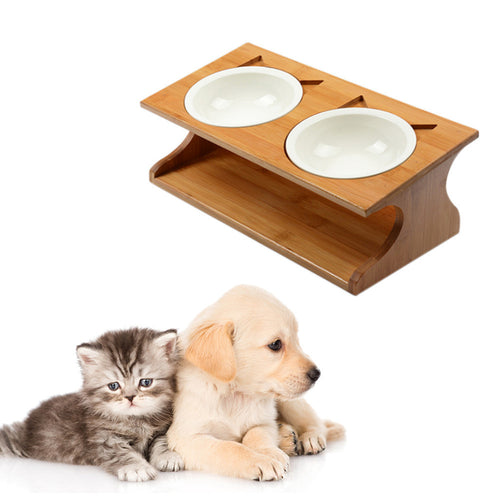 Bamboo Bowl Holder for Cats