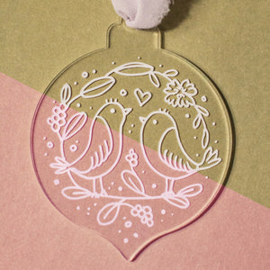 Love Birds Floral Ornament