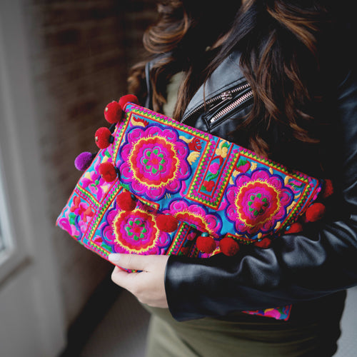 Embroidered Pink Clutch