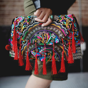 Embroidered Clutch with Tassels