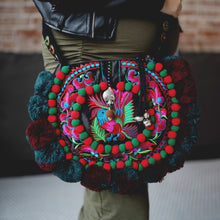 Embroidered Clutch with Pom Poms