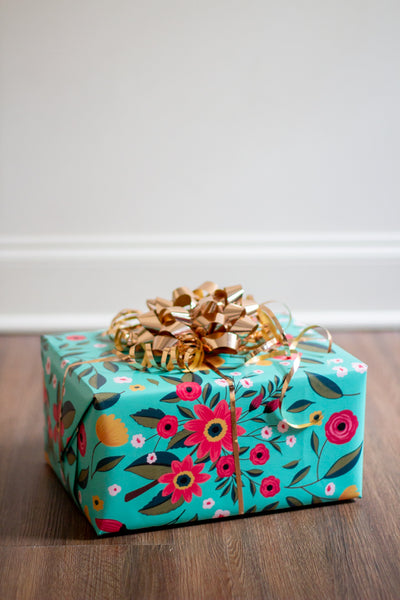 Teal Floral Gift Wrap