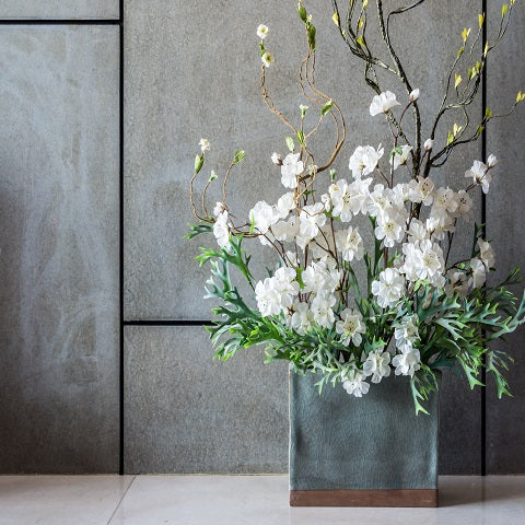 Metal Panels with Silk Flowers