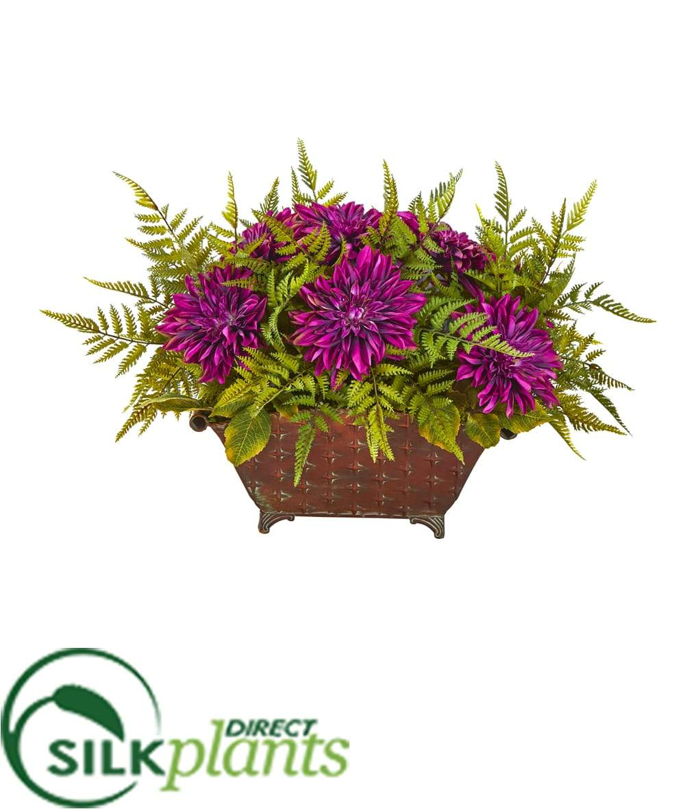 Silk Plants Direct Dahlia And Fern Artificial Arrangement Purple P