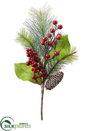 Iced Berry Magnolia Leaf Pine Cone Pine Spray Red Green Pack Of 12 Crg Er 828sdxs Silk Plants Direct