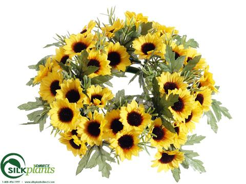 Artificial Sunflower Candle Ring Centerpiece Silk Candle Ring Centerpiece Faux Sunflower Candle Ring Fake Sunflower Centerpiece Silk Plants Direct