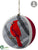 Cardinal Ball Ornament - Gray Red - Pack of 6