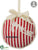 Merry Christmas Stripe Ornament - Red Beige - Pack of 6