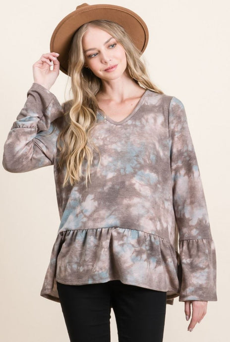 Tie Dye Print French Terry Ruffle Bottom Top
