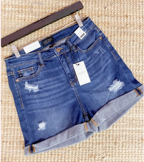 High Waist denim cuffed shorts