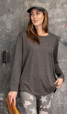 Long Sleeve Raw Edge Melange Top