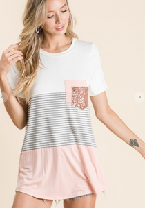 Striped Colored Block Top with Sequin Pocket
