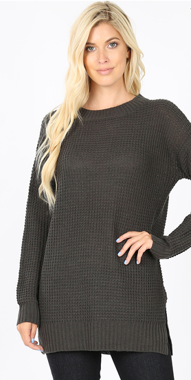 Long Sleeve Waffle Knit Top with Side Slit Details