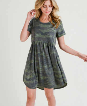 Ribbed camouflage baby doll dress