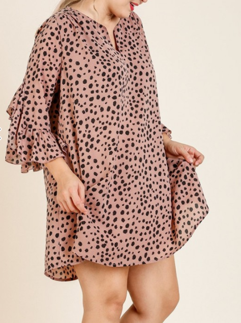 Dalmatian Print Layered Ruffle Sleeve Split Neck Dress