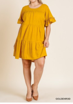 Ruffle Sleeve Tier Dress with Crochet Details