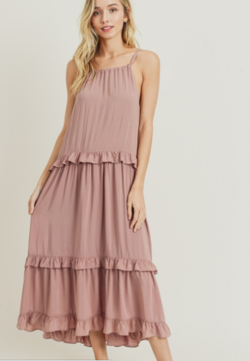 Halter Maxi Dress with Tiered Ruffle Edge Layers