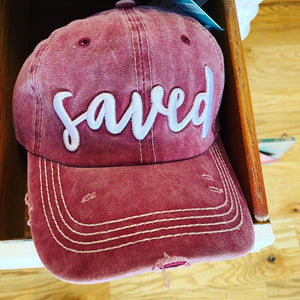 """Saved"" Embroidered Vintage Wash Hat"