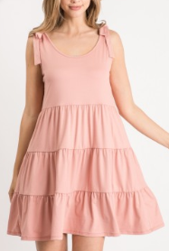 Baby Doll Dress with Self-tie Shoulders
