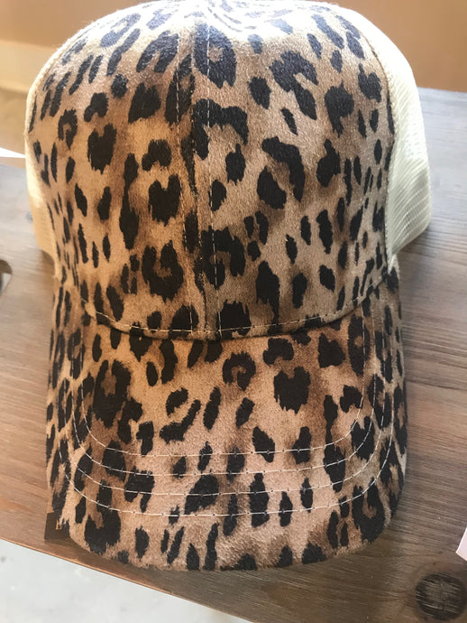 Leopard Print High Ponytail Ball Cap