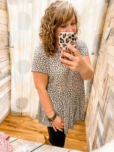 Short Sleeve Animal Print Peplum Top