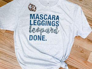 Mascara, Leggings, Leopard Tee