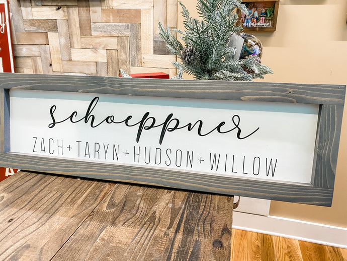 Custom Name Printed Canvas Sign