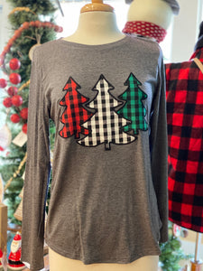 Long Sleeve Plaid Tree Patch Top