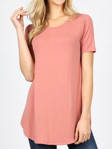 Short Sleeve Basic Round Hem Tee