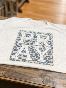 Leopard PRAY Graphic Tee