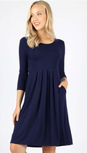 3/4 Sleeve Pleated Waist Dress with Pockets