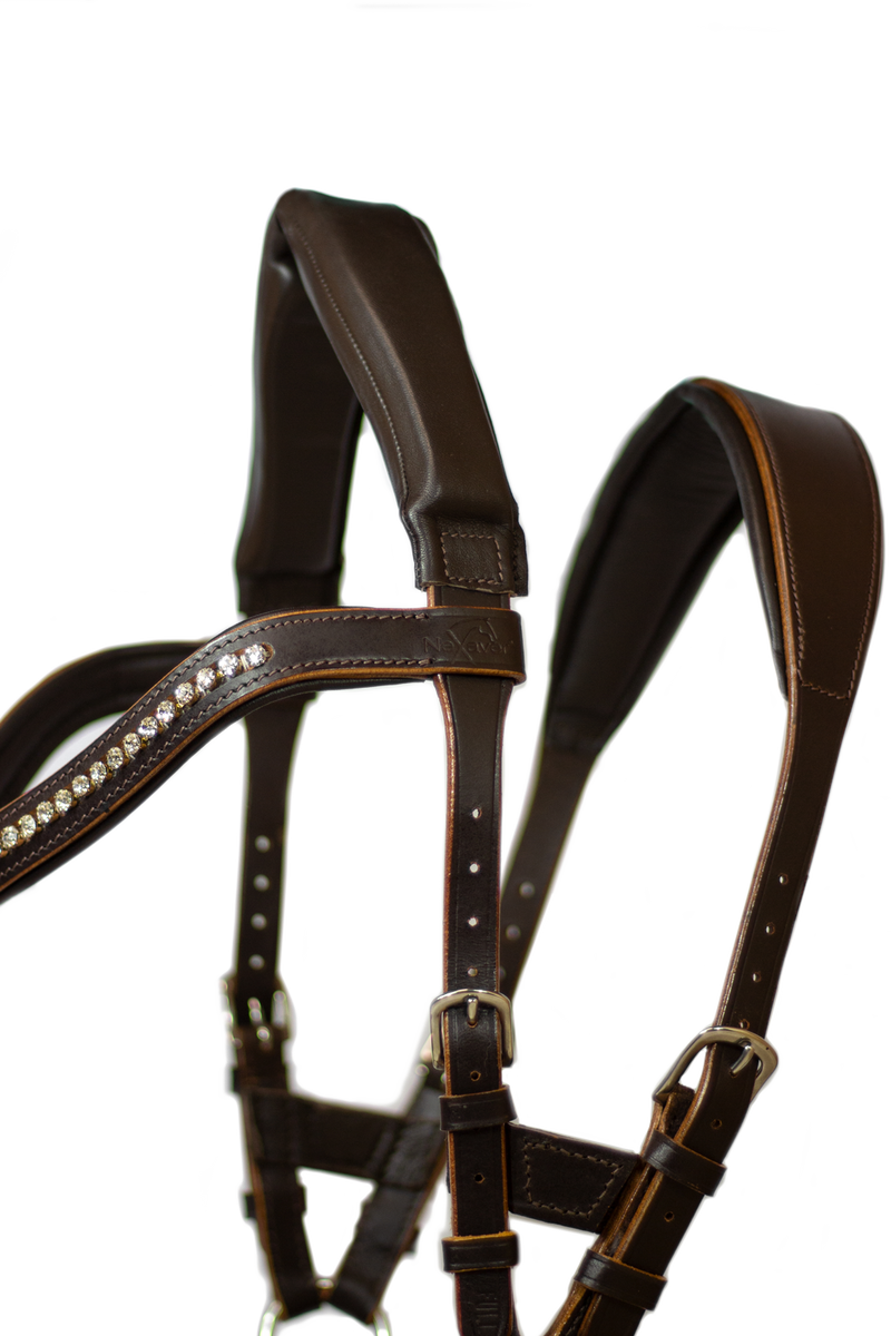 NeXaver® LEATHER SNAFFLE BRIDLE with Combined Noseband