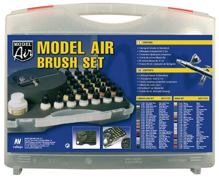 Vallejo Model Air 29 Basic colours set +Airbrush Plastic Case
