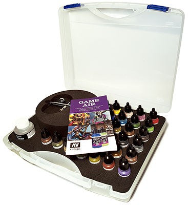 Vallejo Basic Game Air Colours set & Airbrush (28 Colour Plastic Case)