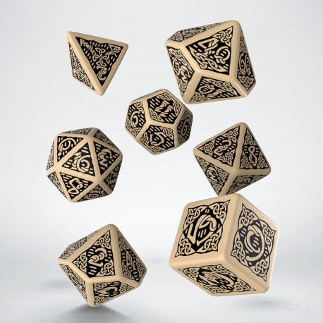 Q Workshop Celtic 3D Beige & Black Revised Dice Set 7
