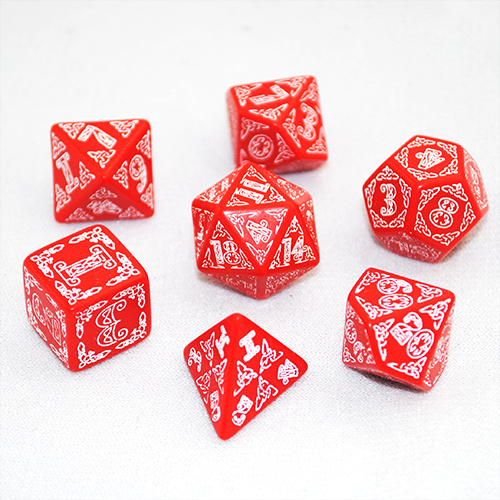 Q Workshop Celtic 3D Red & white Celtic Dice Set 7