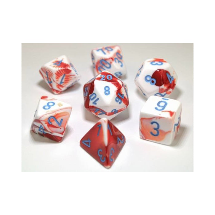 CHX 30022 Gemini Red-White with Blue 7-Die Set
