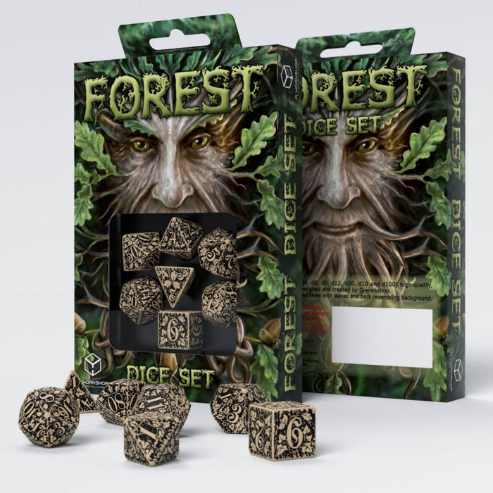 Q Workshop Forest 3D Beige & Black Dice Set 7