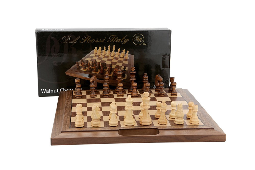Dal Rossi Chess Set Walnut Folding bevelled edge with handle 16""